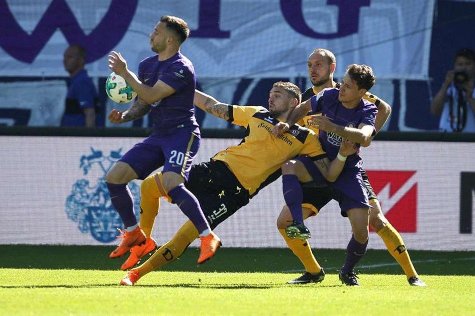 Aue gegen Dynamo: Keiner ging als Sieger vom Platz.