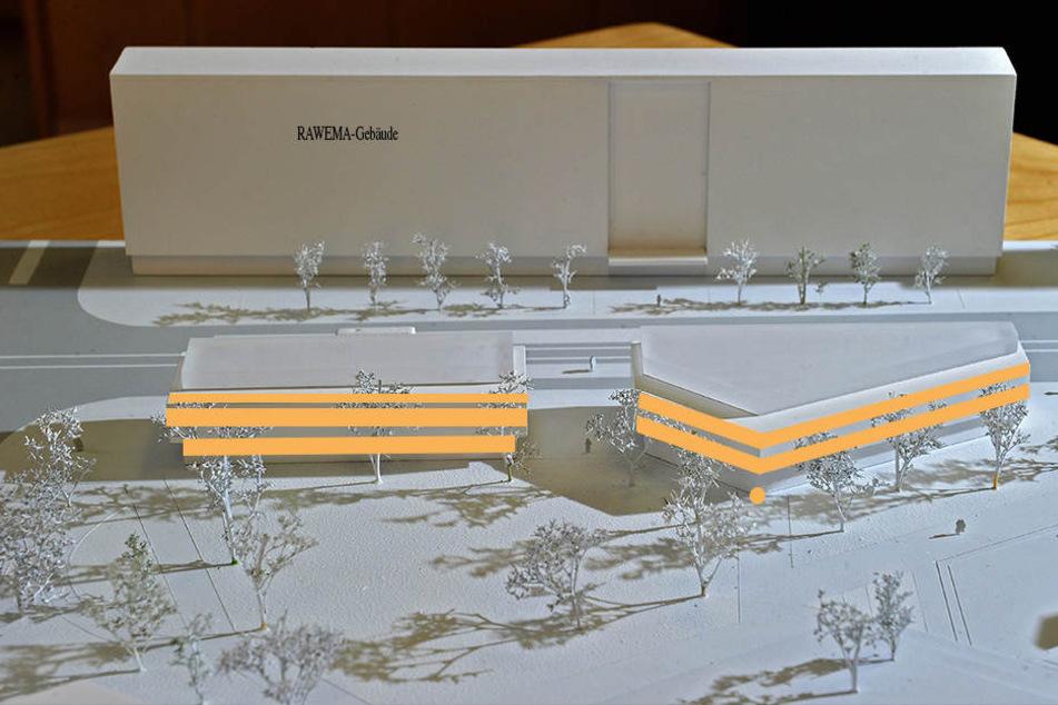So soll's mal aussehen: Café (Punkt), Geschäfte (Erdgeschoss), Büros (1./2. Stock) und Wohnungen (3. Stock), all das soll in den Gebäuden am Stadthallenpark unterkommen.