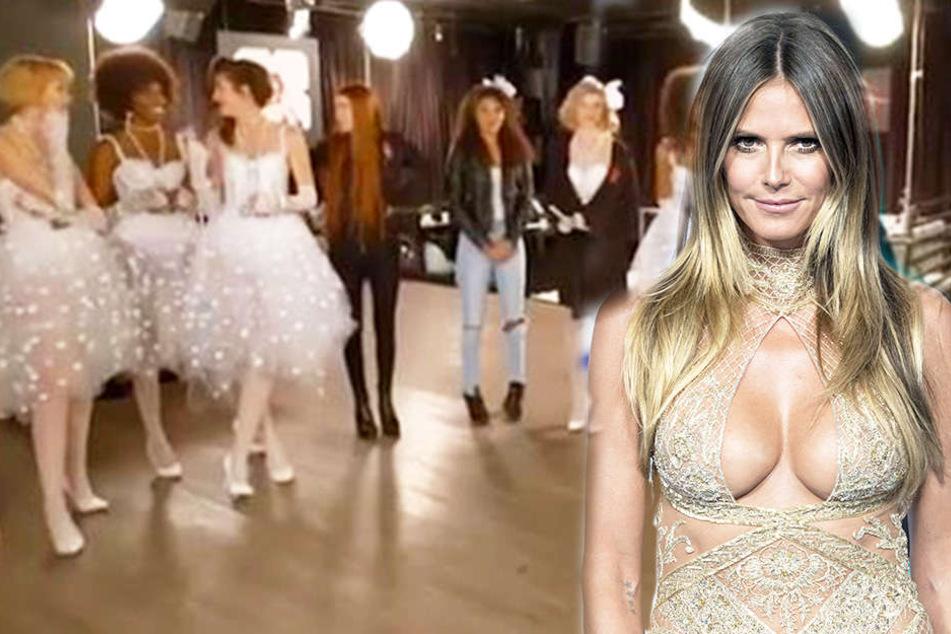 Die Mädchen in wunderschönen Brautkleidern müssen sich vor Heidi Klum (rechts) beweisen.