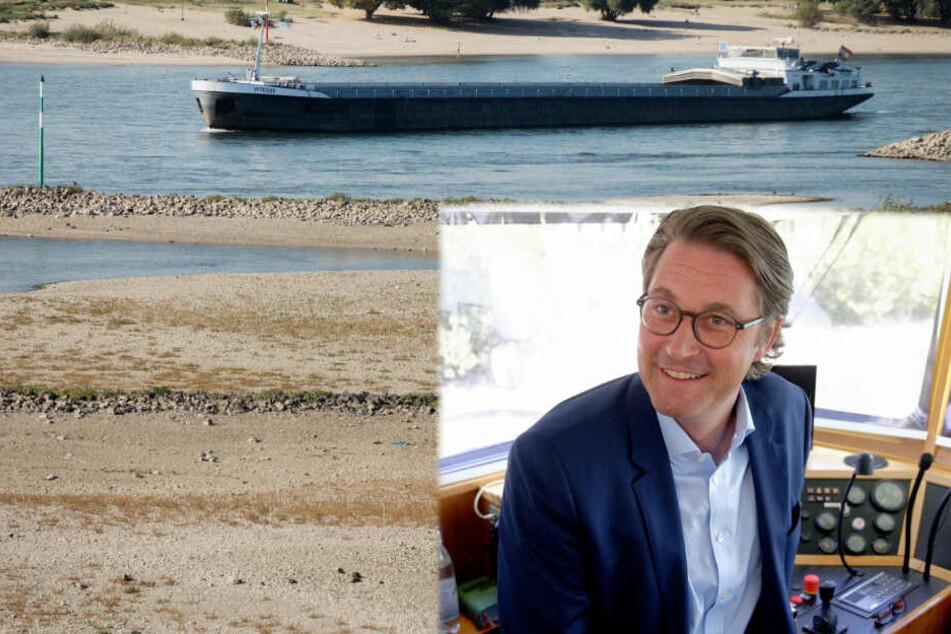 Krisenfester Transport auf dem Rhein: Scheuer spricht über Niedrigwasser