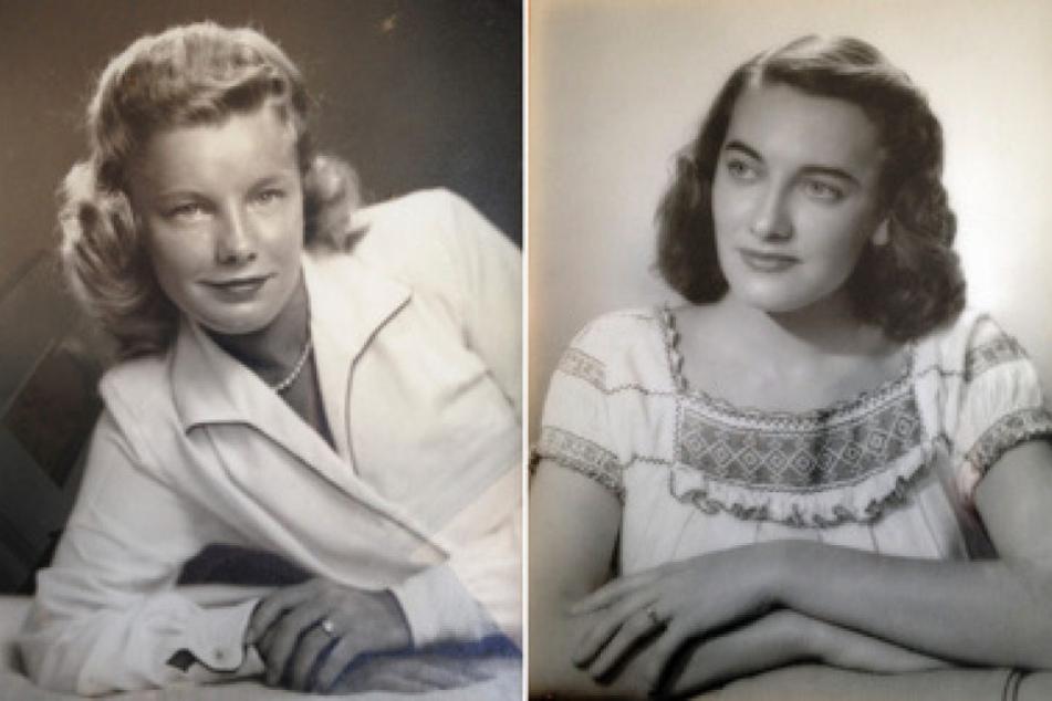 Die Aufnahme zeigt zwei Porträts der Zwillingsschwestern Martha Williams (l) und Jean Haley (r) im geschätzten Alter von 25 Jahren.