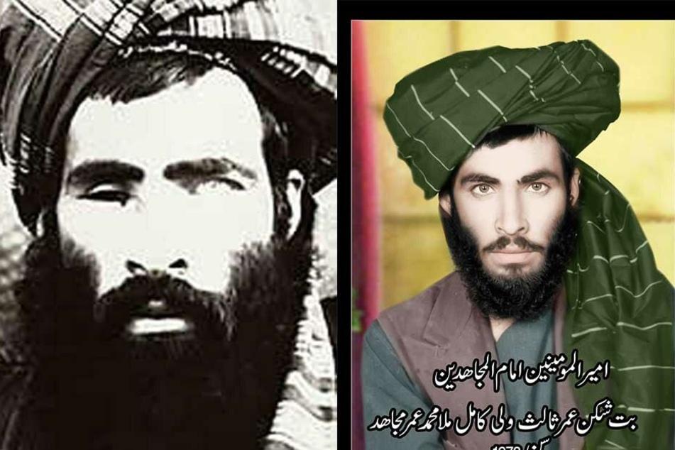 Mullah Omar als junger Mann (1978) und am Ende seines Lebens (li.). Er hatte im Kampf gegen die Sowjet-Truppen ein Auge verloren.