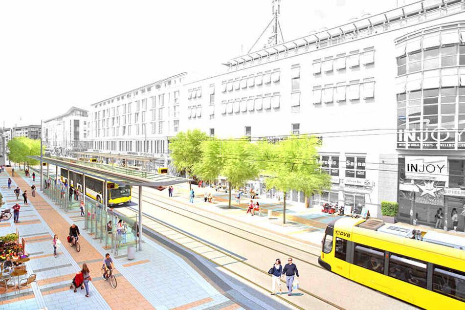 So soll die neue autofreie Zentralhaltestelle an der Kesselsdorfer Straße aussehen.
