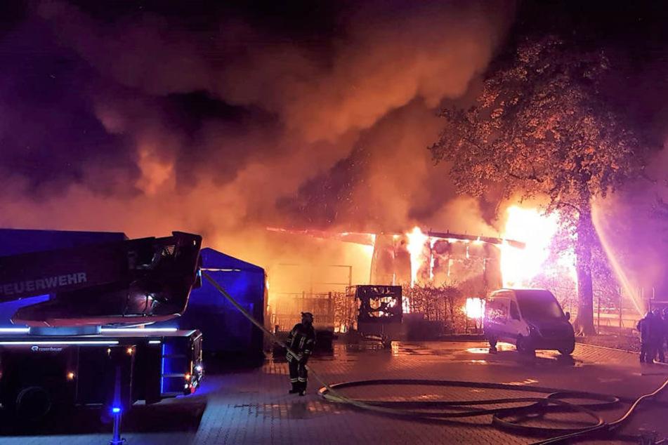 Das Feuer loderte in voller Ausdehnung.