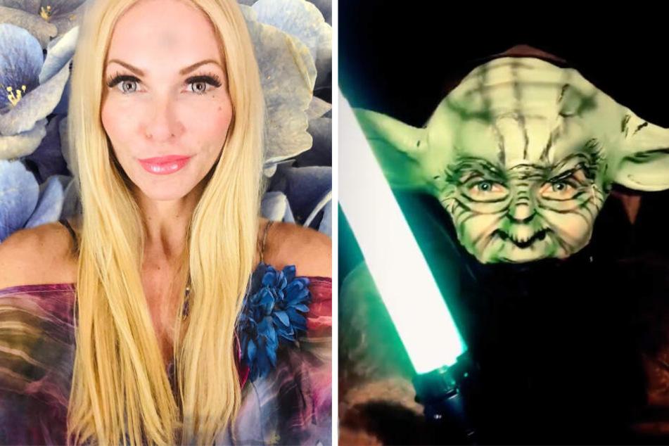 Echt nicht wiederzuerkennen hinter der Maske: Sonya Kraus als Meister Yoda.