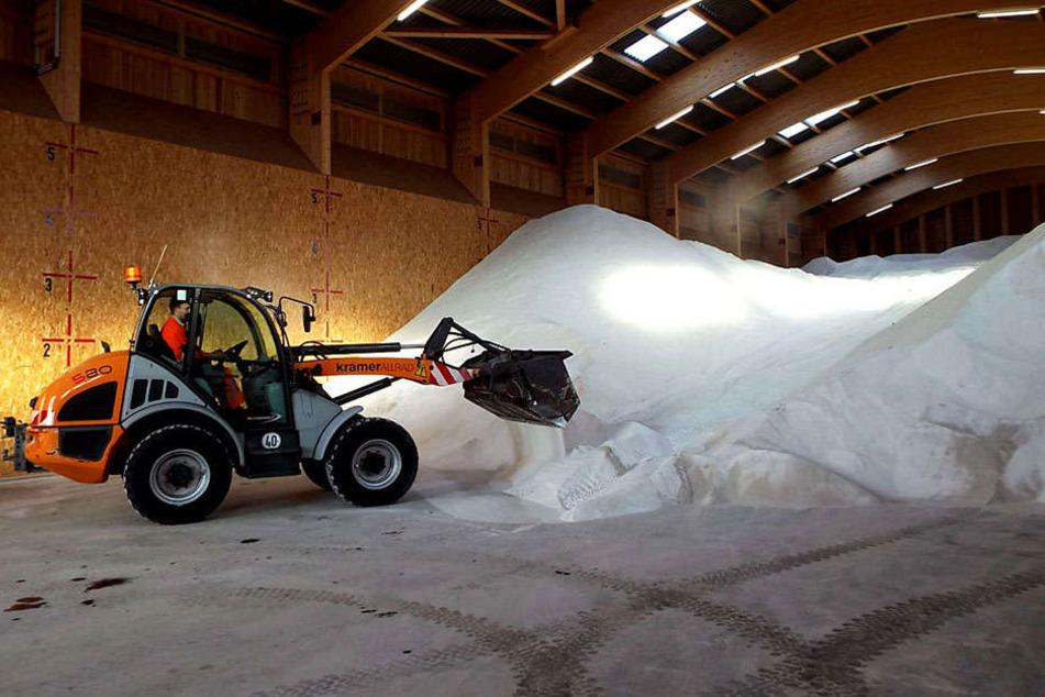 6000 Tonnen Salz wurden für den Winterdienst gelagert.
