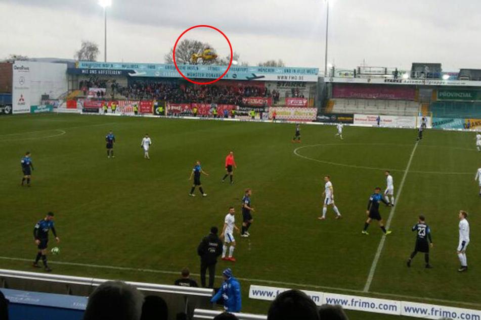 Ein Rettungshubschrauber wurde ans Lotter Frimo Stadion gerufen.