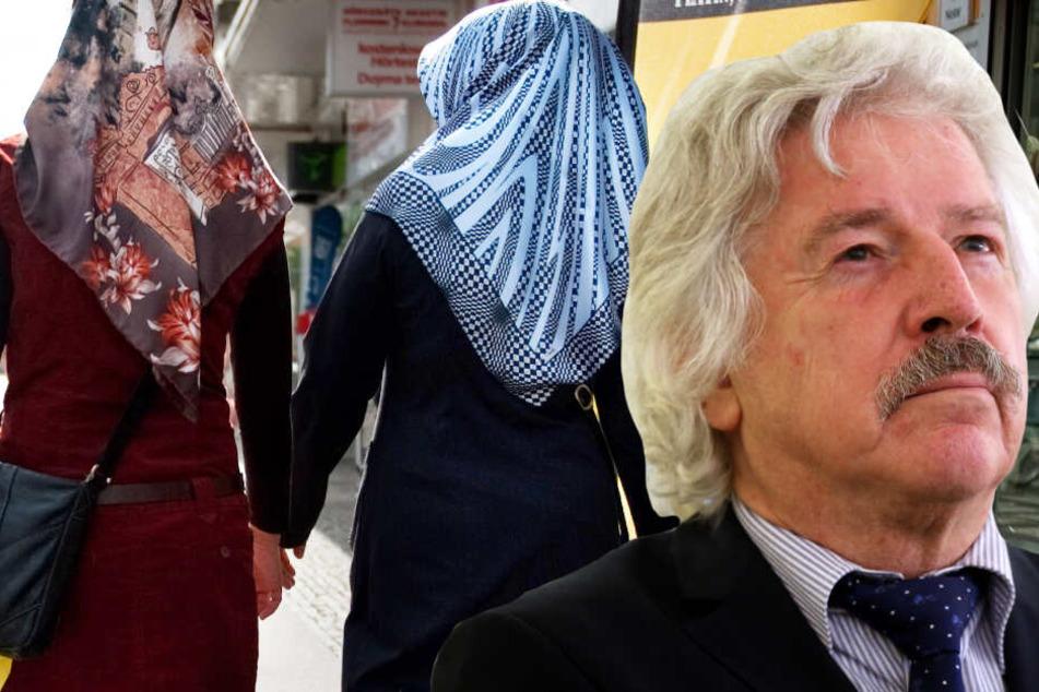 Die Montage zeigt den AfD-Politiker Rainer Rahn vor dem Bild zweier muslimischer Frauen mit Kopftuch.