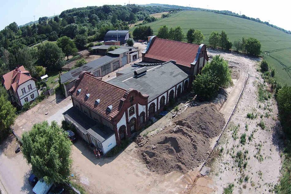 Das ehemalige Steinkohlegaswerk Mockritz aus der Vogelperspektive.