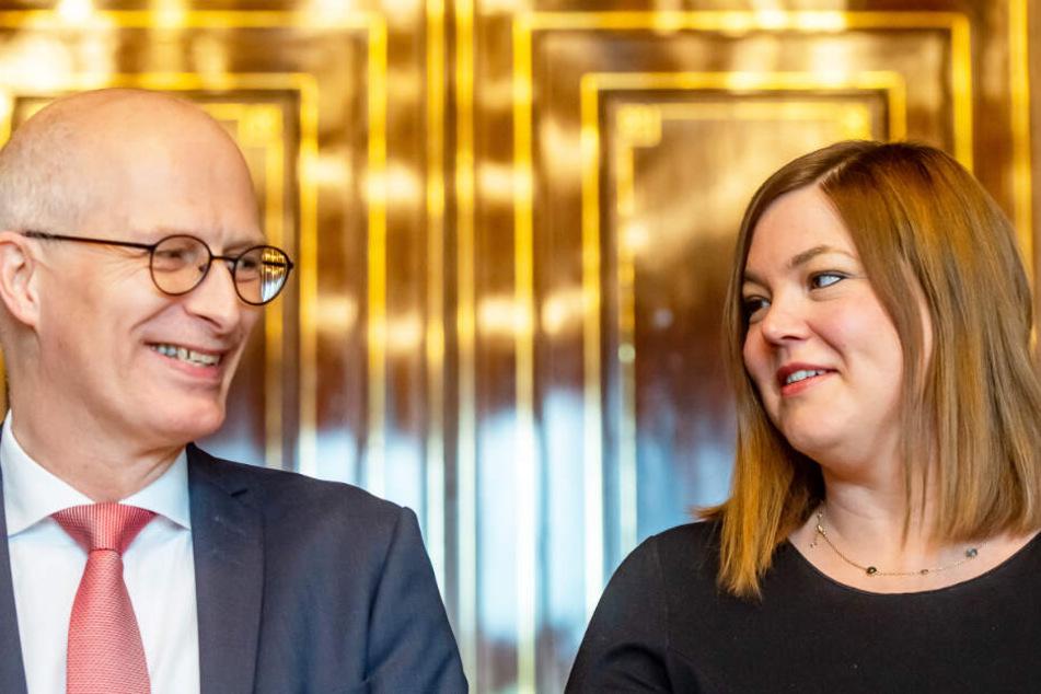 Noch regieren Peter Tschentscher (SPD), Hamburgs Erster Bürgermeister, und Katharina Fegebank (Grüne), Hamburgs zweite Bürgermeisterin, im Rathaus zusammen.