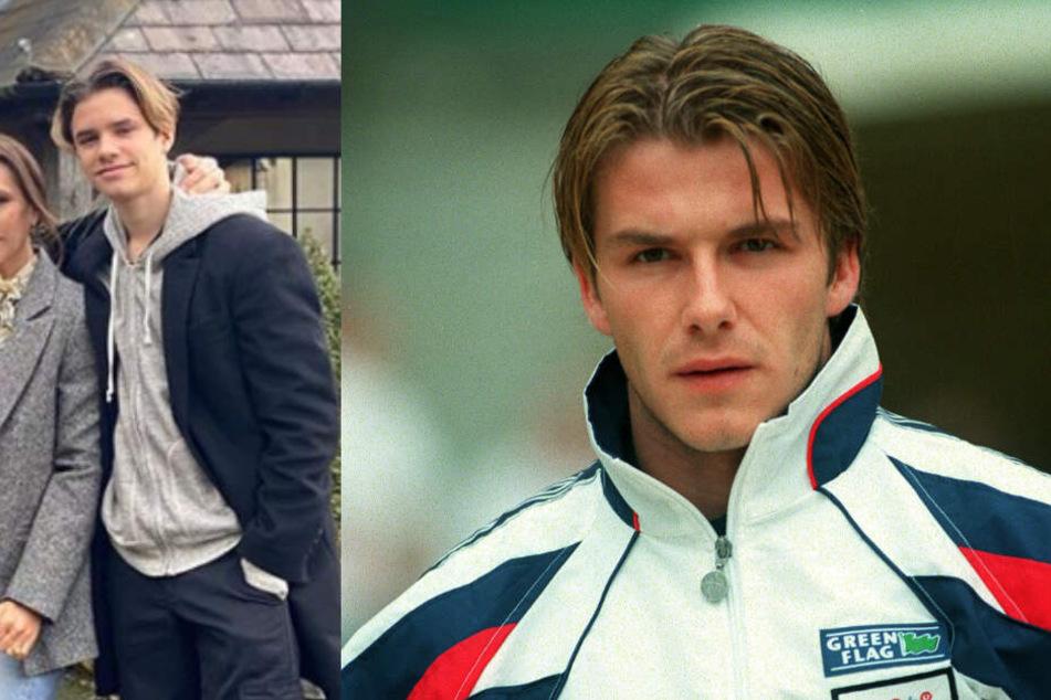 Rechts David Beckham 1998, links sein Sohn Romeo auf dem aktuellen Foto.