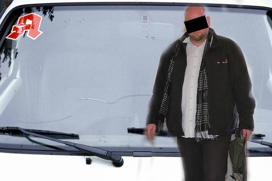 Er fuhr monatelang ohne Führerschein: Markus G. (36) am Freitag am Amtsgericht  Dippoldiswalde.