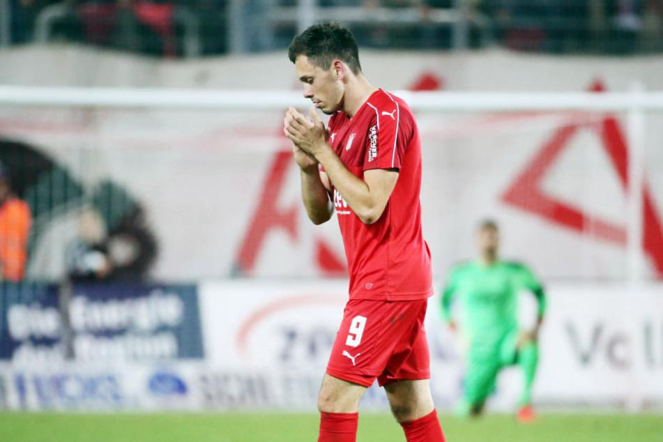 Zwickaus dreifacher Torschütze musste nach einer Verletzung im Spiel gegen Jahn Regensburg ausgewechselt werden.
