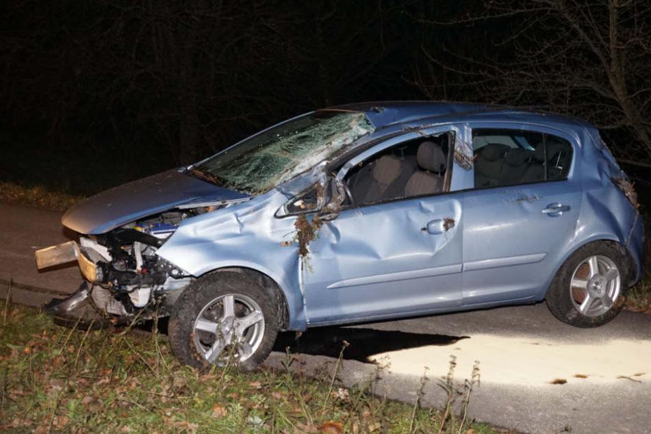 Vermutlich kam die Fahrerin dieses Opels von der Straße ab, weil sie zu schnell unterwegs war.