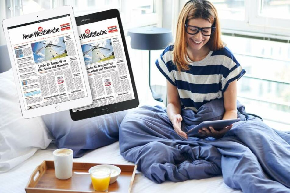 Mit Deinem neuen Tablet kannst Du das E-Paper der Neuen Westfälischen schon im Bett lesen.