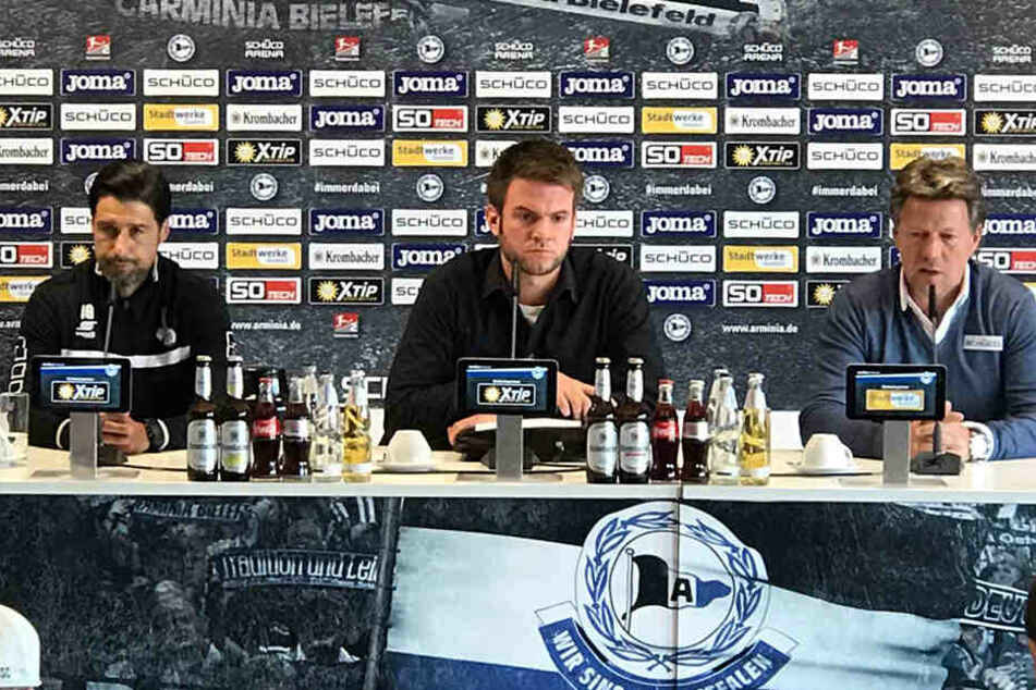 MSV-Coach Ilia Gurev (47, li.) und Jeff Saibene (48) analysierten auf der anschließenden Pressekonferenz die Partie.