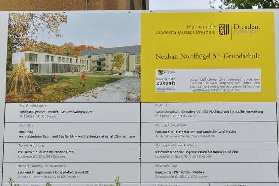 So soll der Neubau der 30. Grundschule ab Sommer 2018 aussehen. (Grafik)
