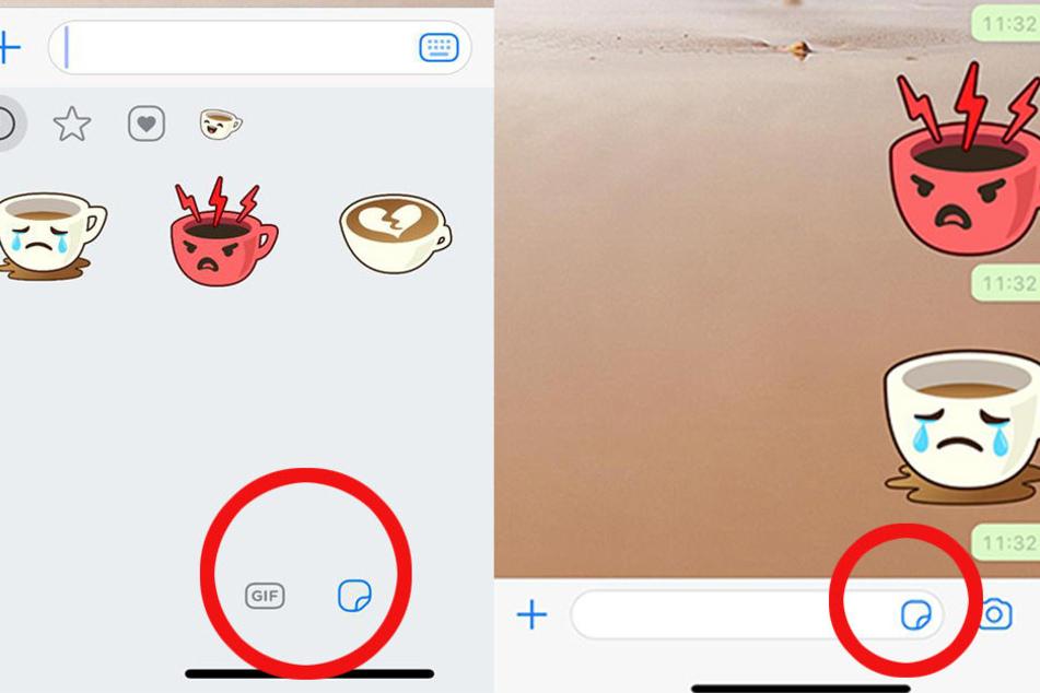 Über das Textfeld gelang man über ein kleines Symbol am rechten Rand (re.) zur Sticker-Funktion. Dort angelangt, kann man am unteren Bildrand zu den GIFs wechseln (li.).