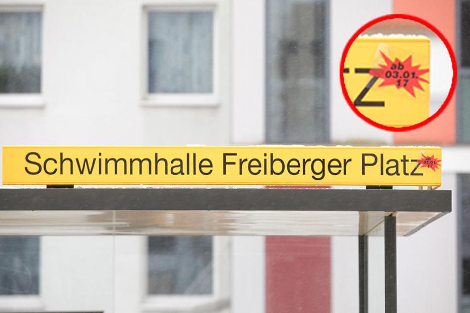 """Die ehemalige """"A.-Althus-Straße"""" hat einen neuen Namen und heißt jetzt  """"Schwimmhalle Freiberger Platz""""."""