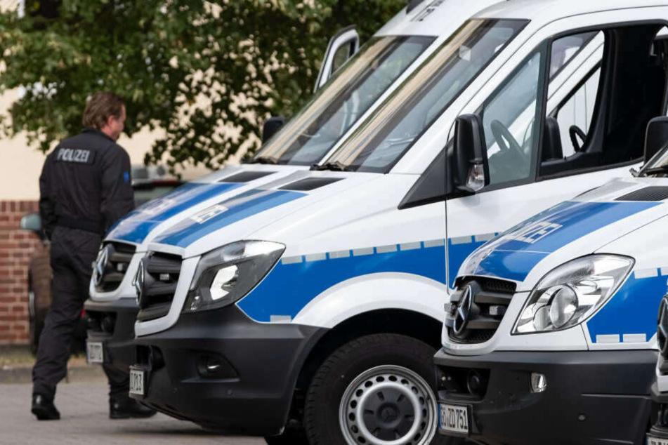 Einsatzbereite Fahrzeuge der Polizei stehen an einer Straße. (Symbolbild)