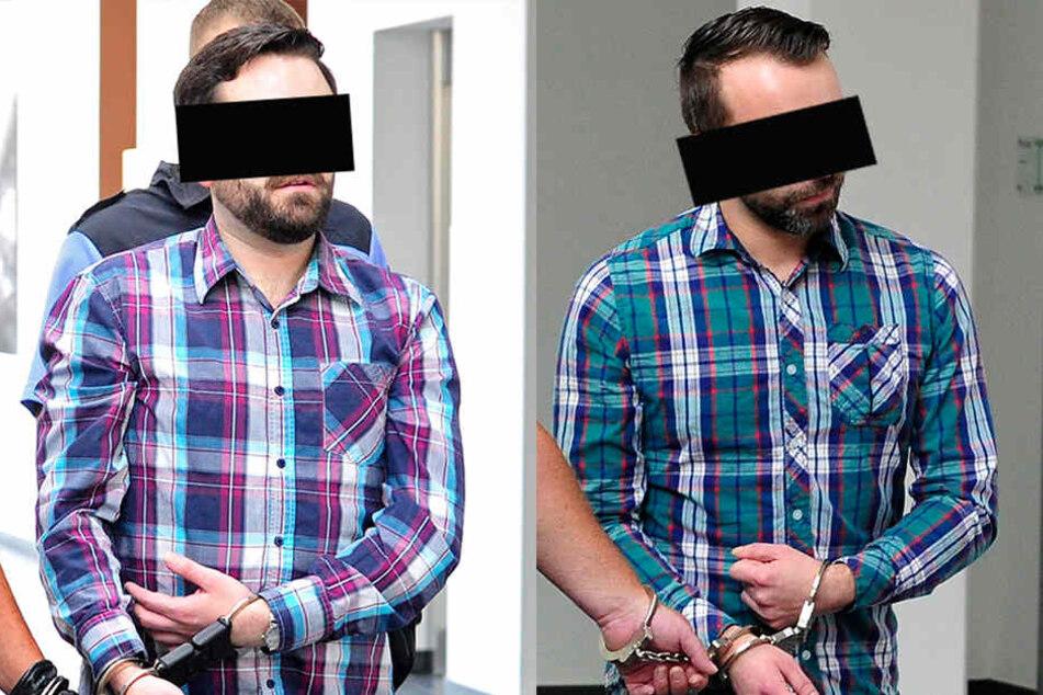 Stefan S. (28, l.) und Manuel K. (32) kamen am Mittwoch in Handschellen zu ihrem Betrugsprozess ins Amtsgericht