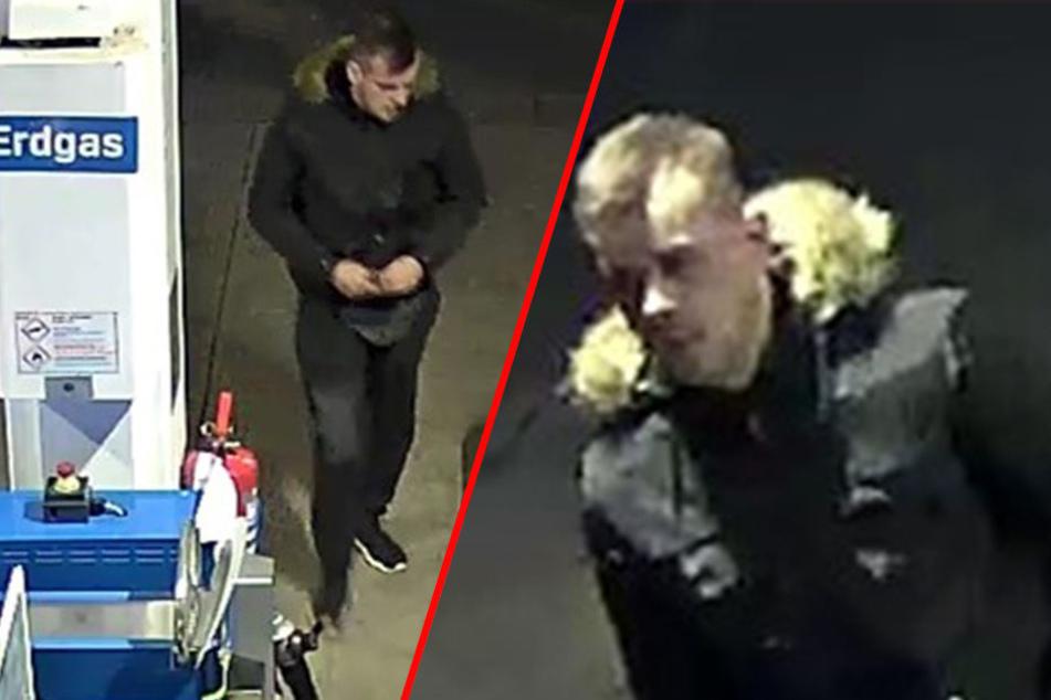 Die Person links soll am 29. November einen Automaten an einer Tankstelle aufgebrochen haben. Die Person rechts könnte sein möglicher Komplize sein.