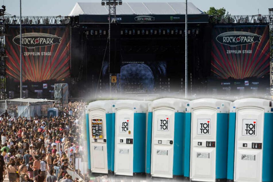 """Toiletten sind auf dem Festival """"Rock im Park"""" Mangelware - zum Leidwesen der Besucher. (Bildmontage)"""