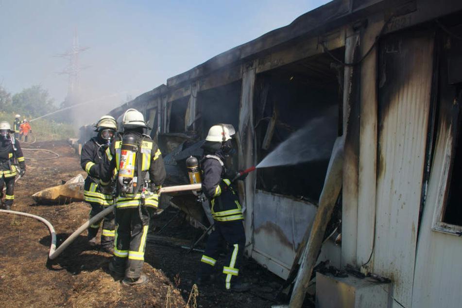 Feuerwehrmänner bekämpfen die Flammen im Innern der Einrichtung.