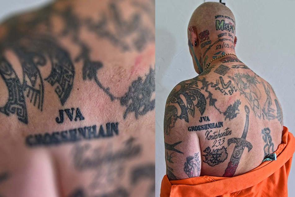 """Nunmehr 240 Tattoos zieren Osbournes Körper. Eins davon widmete er der JVA Großenhain. """"Ich mag mehr"""", sagt er."""