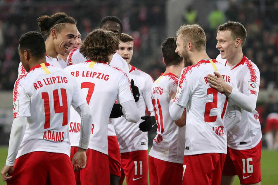 Die Mannschaft von RB Leipzig hatte in Düsseldorf viel Grund zur Freude.
