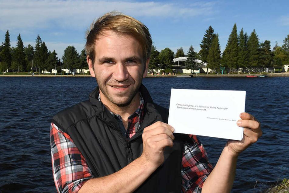 Drohnenpilot Andreas Beier wollte mit den Nackten am Filzteich Frieden schließen.