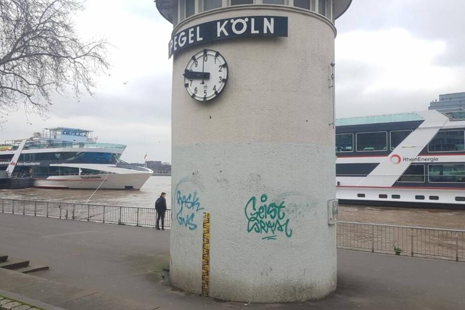 Der Rheinpegel in Köln am Donnerstag.