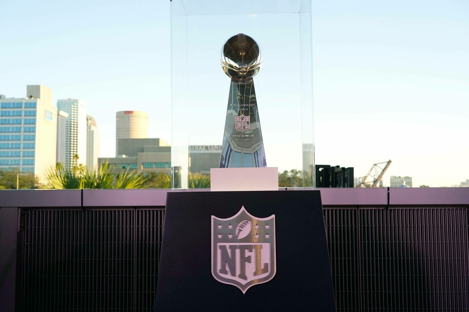 The Super Bowl LV Vince Lombardi Trophy on display on opening day of the Super Bowl Experience.