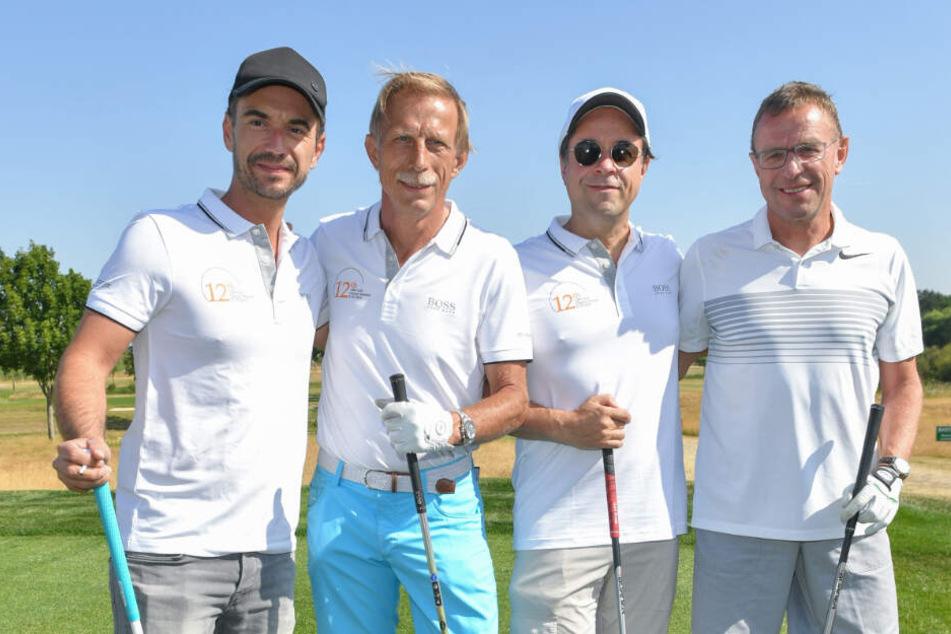 Für den guten Zweck dabei (von links): Florian Silbereisen (37), Christoph Daum (65), Jan Josef Liefers (54) und Ralf Rangnick (61).