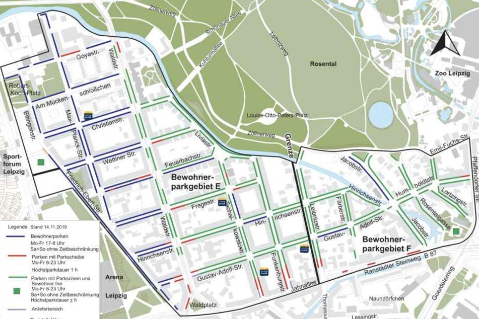 Das Bewohnerparken im Waldstraßenviertel erstreckt sich (Nord-Ost-Süd-West) über die Goya-/Max-Planck-Straße, die Pfaffendorfer Straße, den Ranstädter Steinweg und die Jahnallee sowie die Friedrich-Ebert-Straße/Robert-Koch-Platz.