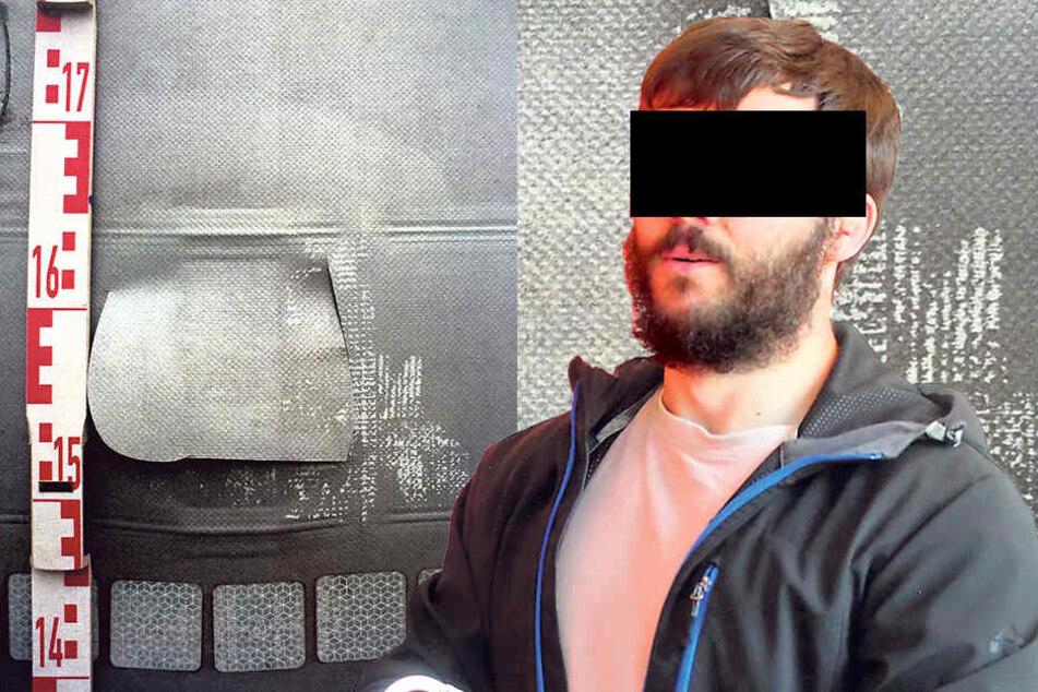 Grzegorz S. (28) schlitzte Brummi-Planen auf, um an die Ware auf den Aufliegern zu kommen. So ein kleines Loch schnitt Grzegorz, um einen Blick auf die Ladung zu werfen.