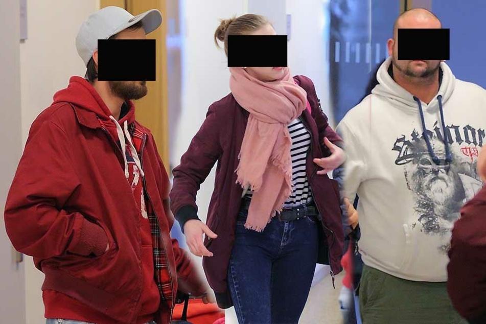 Rolf R. (30, li.) ist heute selber Vater, ging aber seinerzeit auf einen Mann mit Kleinkind im Arm los. Laura S. (22) gab zu, dem Opfer in den Rücken gesprungen zu sein. Koch Fabrice K. (31) ist schon mehrfach wegen Körperverletzung vorbestraft.
