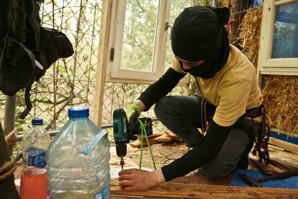 Am Hambacher Forst hatten Aktivisten bereits wieder mit dem Bau von Baumhäusern begonnen.