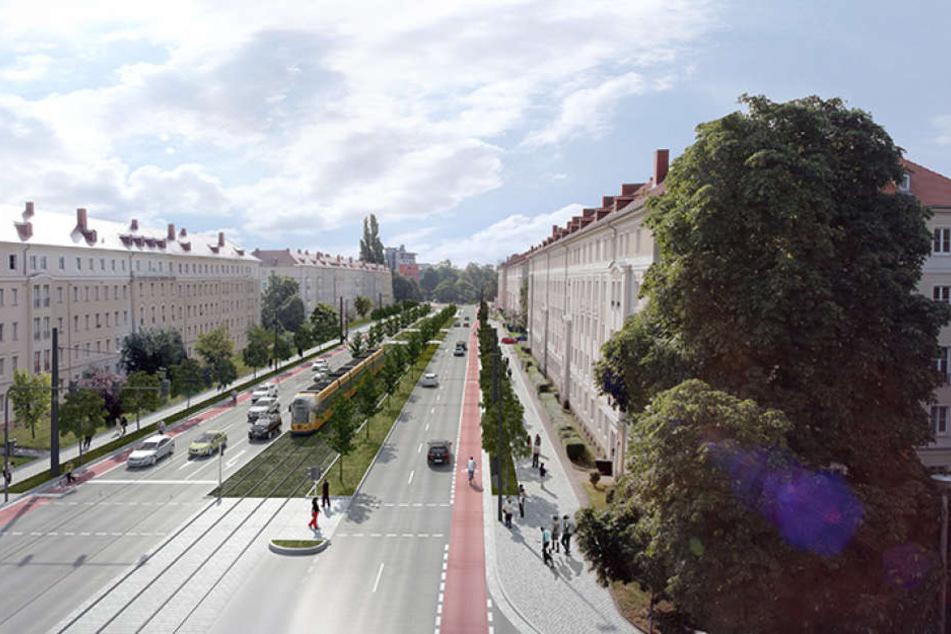 So stellen sich die Planer die neue Straßenbahn-Trasse vor.