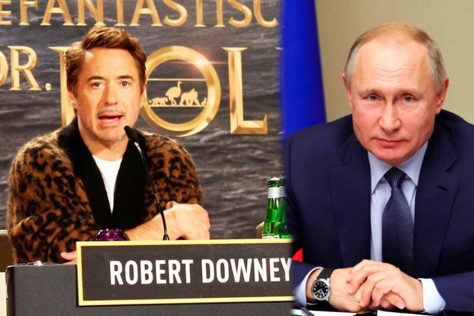 """Robert Downey junior (l.) stellte """"Die fantastische Reise des Dr. Dolittle"""" im Waldorf Astoria vor, wo auch Russlands Präsident Wladimir Putin untergebracht war - weshalb es große Sicherheitsvorkehrungen gab."""