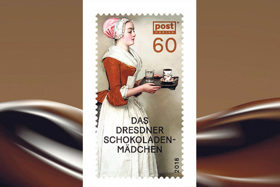 """Das wohl schönste Pastell der Welt auf einer Briefmarke. Das """"Schokoladenmädchen"""" ziert eine Sondermarke von PostModern, sie verbreitet einen wohligen Duft von Schokolade."""