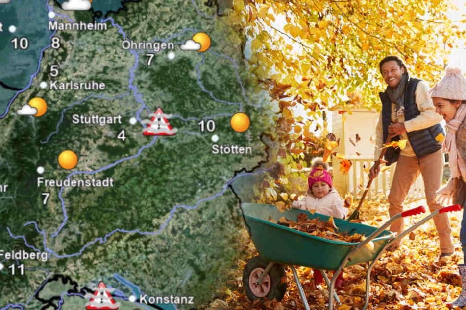 Das Wetter in Baden-Württemberg. (Fotomontage)