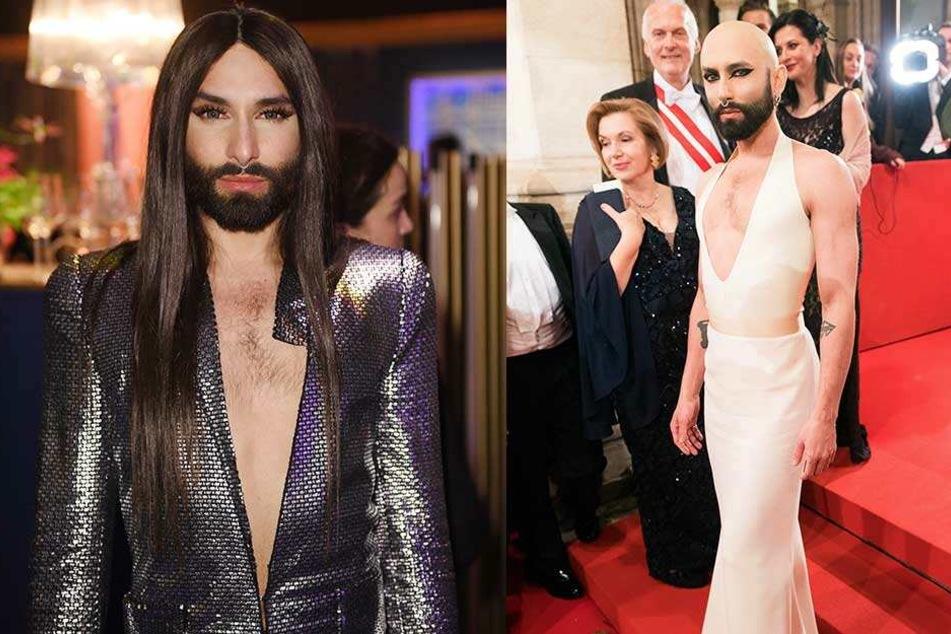 """Die originale Conchita (li.) hatte sich zuletzt beim Wiener Opernball schon nur noch mit Glatze gezeigt. Jetzt ist sie """"tot"""" und nennt sich nur noch Wurst."""