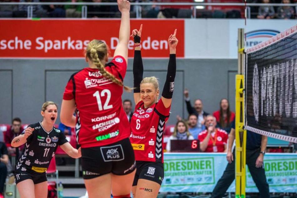 Jubel pur: Der DSC sackte gegen Wiesbaden den achten Sieg in Serie ein.