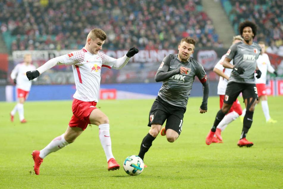 Ackerte viel, blieb aber ohne Tor: RB Leipzigs Topstürmer Timo Werner (l.).