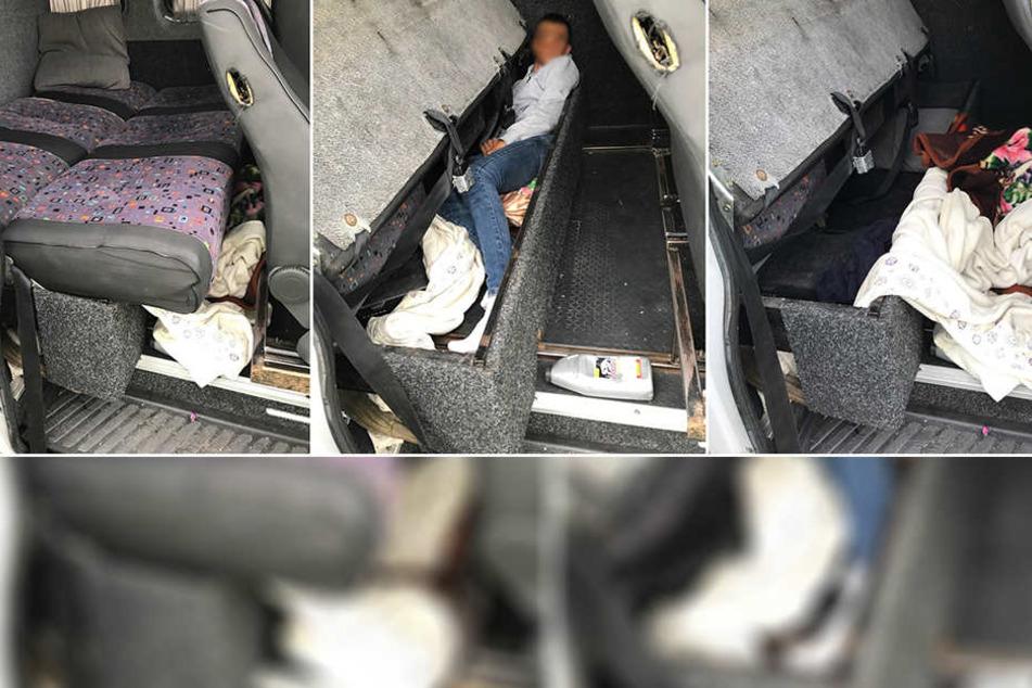 Unter einer präparierten Rückbank war eine männliche Person versteckt.