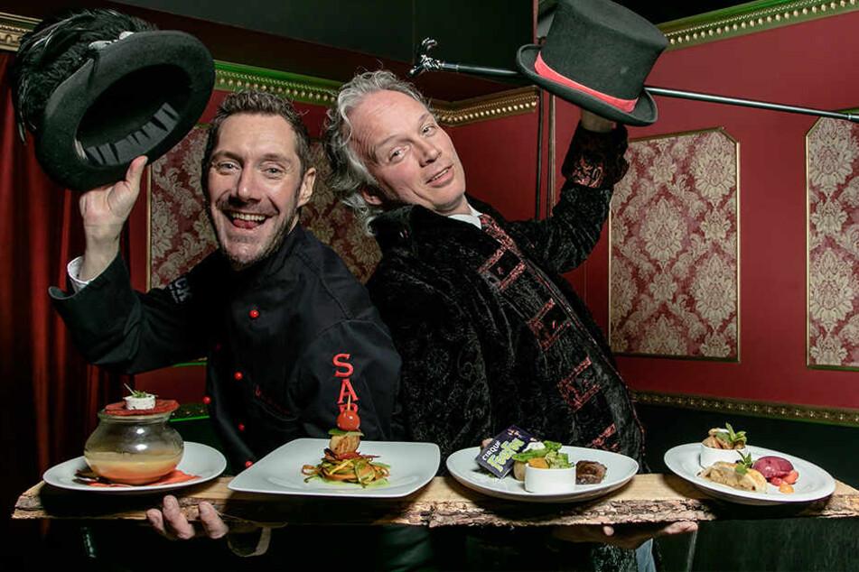 Hereinspaziert! Star-Koch Mirko Reeh (42, l.) und Varieté-Chef Andre Sarrasani (45) bitten zur Dinnershow mit ausgesprochen leckeren Köstlichkeiten.