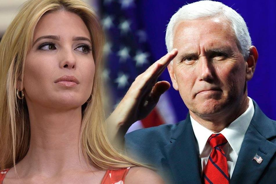 Links Ivanka Trump, die gerade heftig unter Beschuss steht, rechts der mögliche neue Präsident Mike Pence.