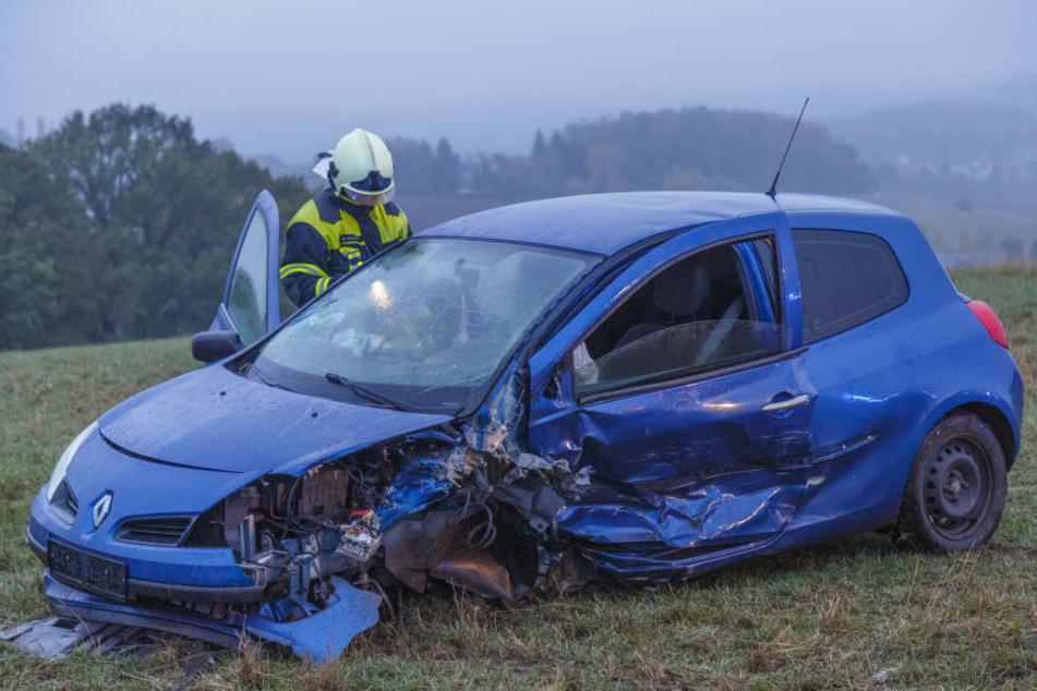 Ein Renault landete nach dem Unfall auf einem Feld.