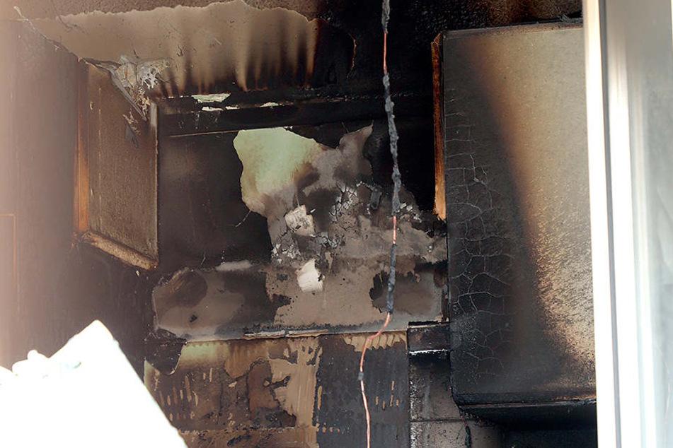 Die Küche wurde durch den Brand schwer beschädigt.